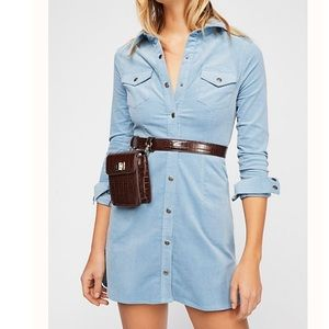 Free People Blue Corduroy Button Up Dress